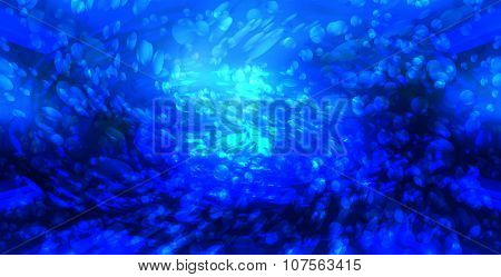 bubbles in the blue water, abstract background