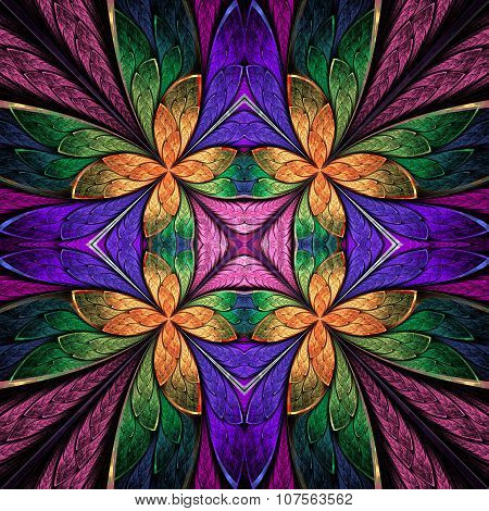 Symmetrical Flower Pattern In Stained-glass Window Style On Dark. Green, Violet ,Orange Palette.