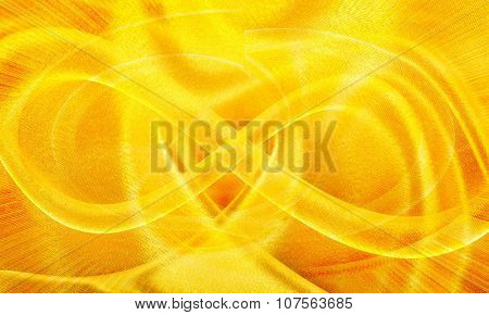 background of the golden silk fabric, closeup
