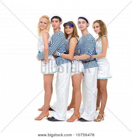 Dance Team Wearing A Sailor Uniform