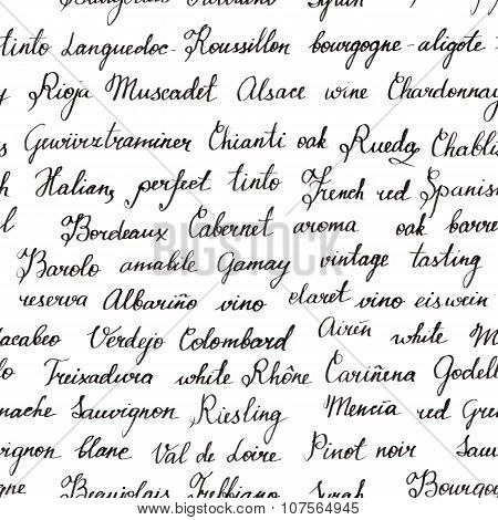 Seamless background texture with names of wine grapes and wine-related terms