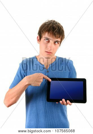 Annoyed Man With Tablet Computer