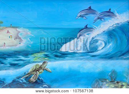 Aquatic life mural