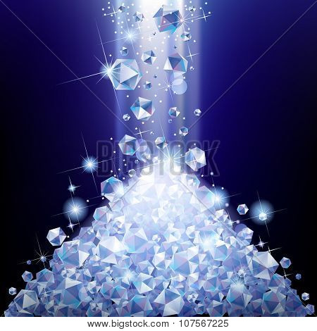 Heap of falling diamonds under blue light. Diamond pile.