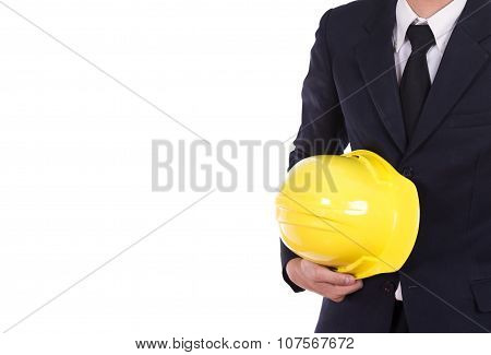 Engineer In Suit Holding Helmet