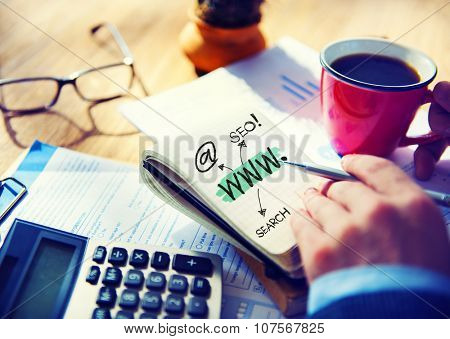 Office Writing Working WWW Seo Search Concept
