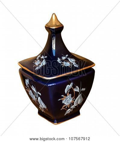 Blue Vase With Gold