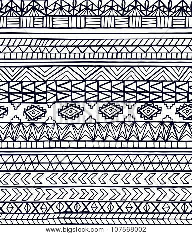 Hand Drawn Abstract Aztec Maya Geometric Seamless Pattern