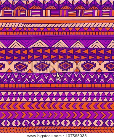 Hand Drawn Purple Abstract Aztec Maya Geometric Seamless Pattern