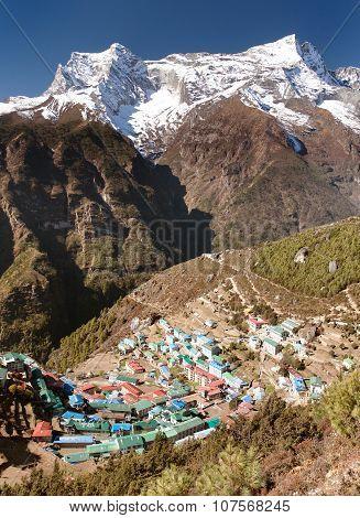 Namche Bazar and mount Kongde