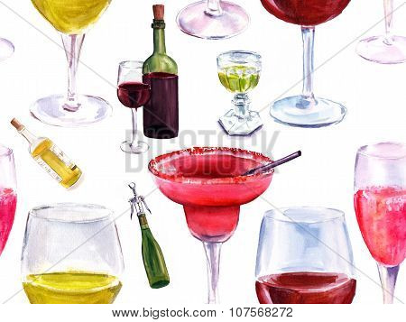 Seamless watercolor alcoholic drinks pattern