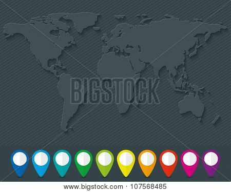 Blank world map and set of colorful map pointers