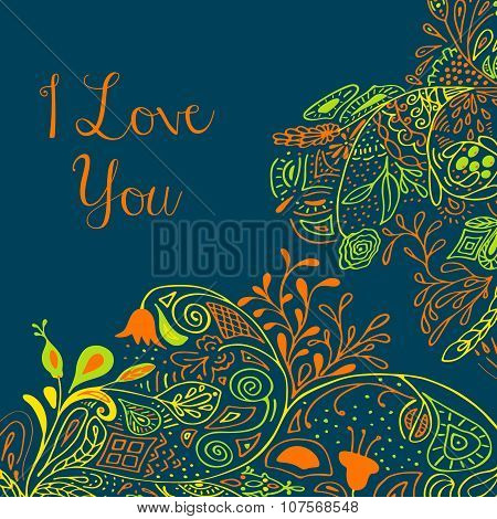 I Love you text on teal background with floral nature ornament with roses, flowers, bluebell, campan