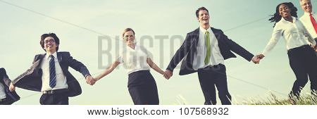 Business People Running Outdoors Nature Concept