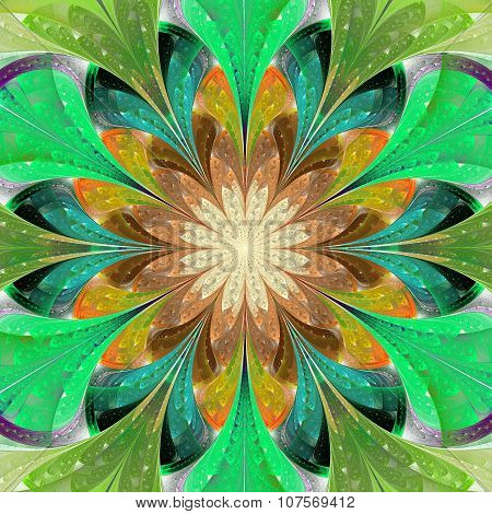 Multicolored Symmetrical Fractal Flower In Stained-glass Window Style. Artwork For Design