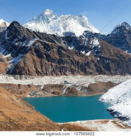 Everest, Lhotse, Makalu And Gokyo Lake From Renjo La Pass