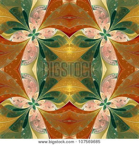 Beautiful Symmetrical Pattern In Stained-glass Window Style. Green And Beige. Artwork For Creative D