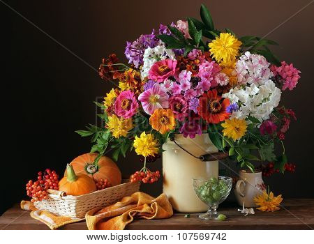 Still Life With A Bouquet, Pumpkins And Berries