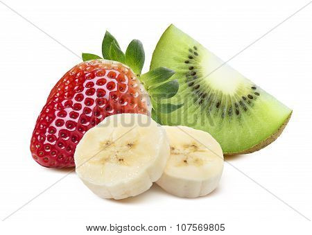 Strawberry Kiwi Quarter Banana 4 Slice Isolated On White Background
