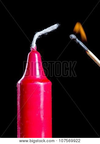 Lighting Red Candle Stick