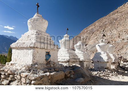 View Of Buddhist Stupas In Nubra Valley, Ladakh