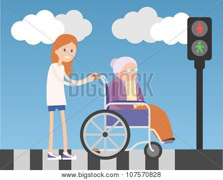 Kind girl helps old lady on wheelchair.