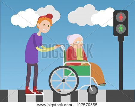 Kind boy helps old lady in wheelchair.