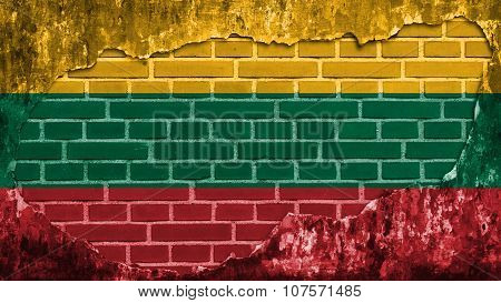 Flag of Lithuania, Lithuanian Flag painted on brick wall