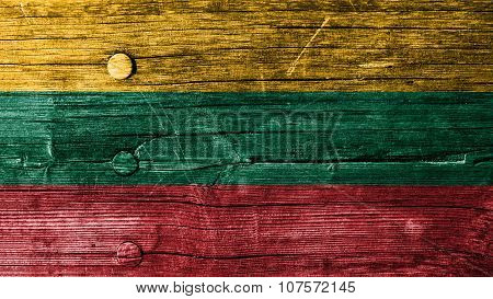 Flag of Lithuania, Lithuanian Flag painted on wood texture