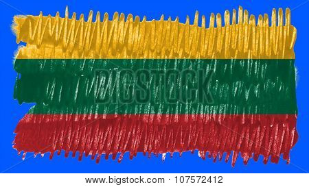 Flag of Lithuania, Lithuanian Flag painted with brush on solid background, paint texture.