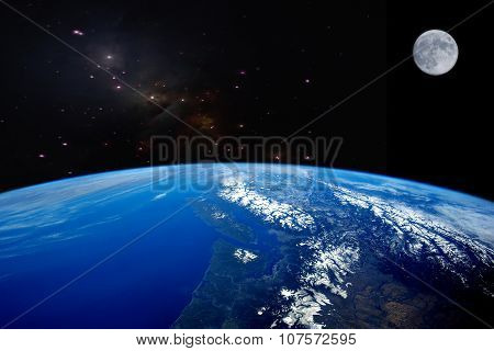 High Quality Earth Image With Moon.