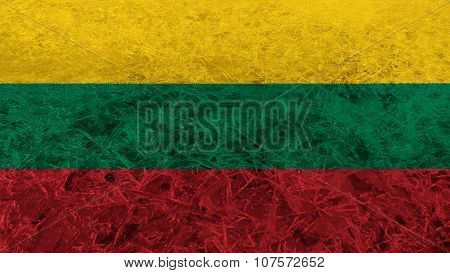 Flag of Lithuania, Lithuanian Flag painted on ice texutre