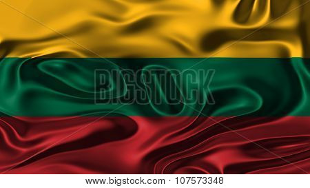 Flag of Lithuania, Lithuanian Flag painted on silk material