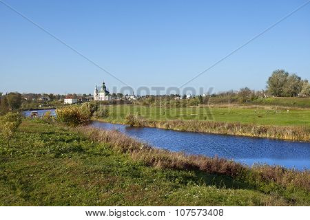 Landscape With River Kamenka And Church. Russia