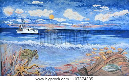 Painted Wall Mural showing a commercial fishing boat