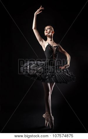 Slim Ballerina In A Black Corset And Tutu.