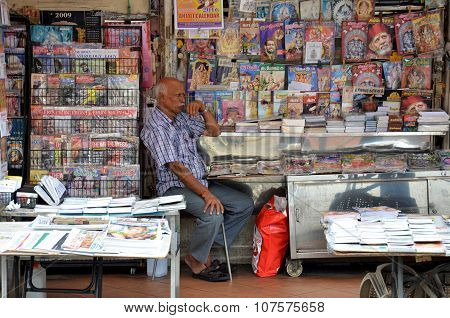 Owner Of Indian Magazines Store In Little India, Singapore