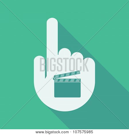 Long Shadow Pointing Finger Hand With A Clapperboard