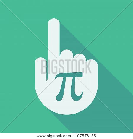 Long Shadow Pointing Finger Hand With The Number Pi Symbol