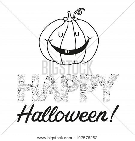 Vector Hand Drawn Halloween Postcard With A Pumpkin