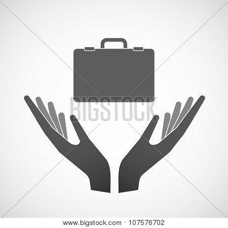 Two Vector Hands Offering  A Breiefcase