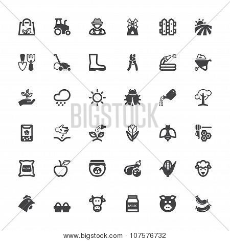 Agriculture And Livestock Flat Icons. Black