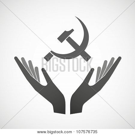 Two Vector Hands Offering  The Communist Symbol