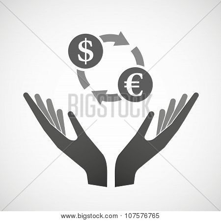 Two Vector Hands Offering A Dollar Euro Exchange Sign