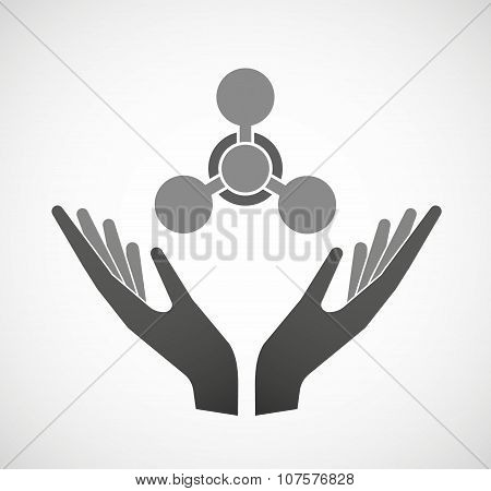 Two Vector Hands Offering A Chemical Weapon Sign