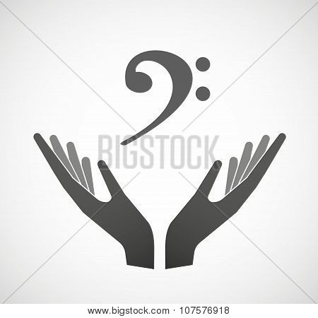 Two Vector Hands Offering An F Clef