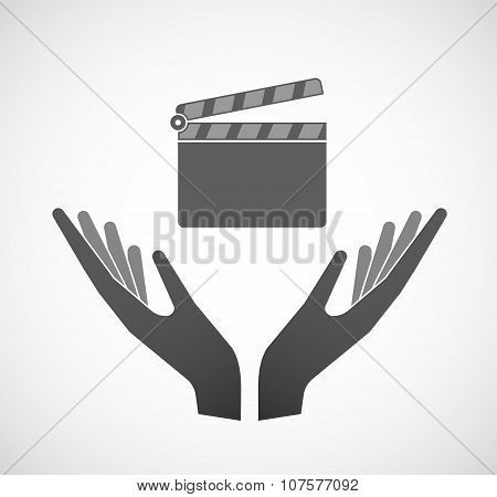 Two Vector Hands Offering A Clapperboard