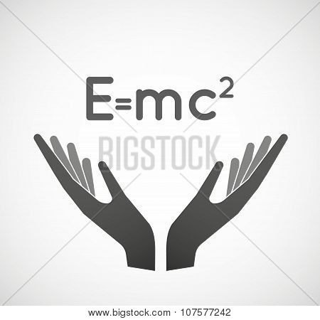 Two Vector Hands Offering The Theory Of Relativity Formula