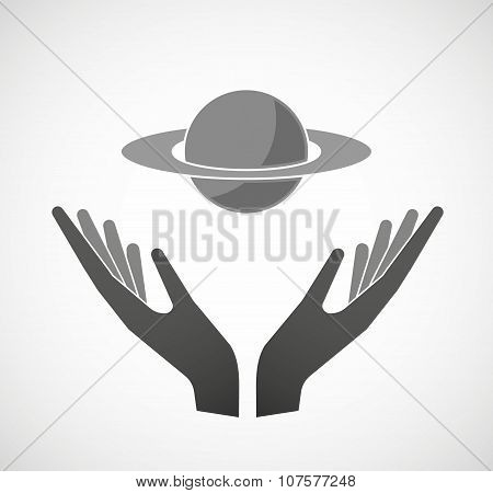 Two Vector Hands Offering The Planet Saturn