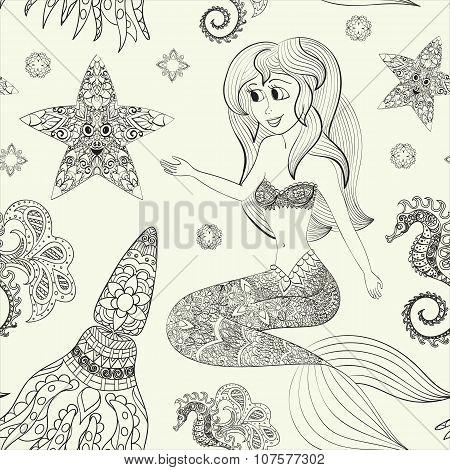 Hand drawn illustration of Ornamental Mermaid. Shaped Mermaid. Seamless pattern with mermaid